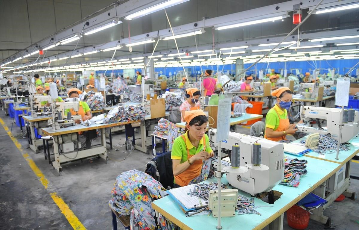 Garment production activities at Nien Hsing Garment Co., Ltd., in the Khanh Phu Industrial Park, Khanh Phu commune, Yen Khanh district, Ninh Binh province. (Photo: VNA)