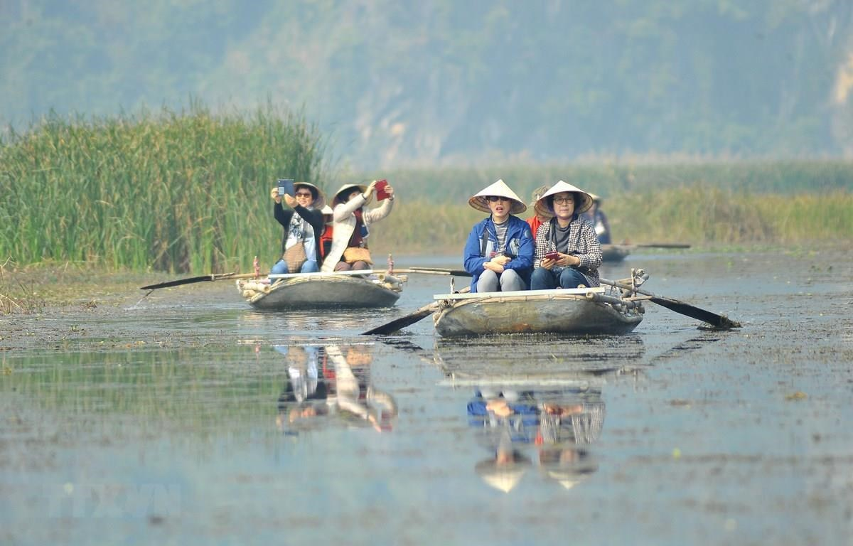 Visitors have a boat tour of Van Long Wetland Nature Reserve (Photo: VNA)