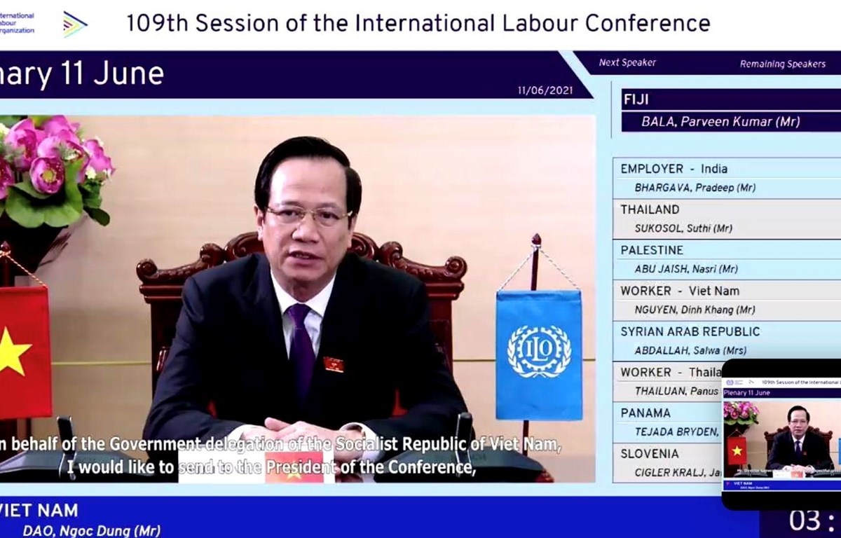 Minister of Labour, Invalids and Social Affairs Dao Ngoc Dung addresses the 109th session of the International Labour Conference (Photo: VietnamPlus)