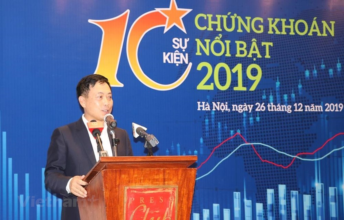 The Securities Journalists Club organises a press conference in Hanoi on December 26 to announce the top 10 biggest events on Vietnam's stock market in 2019. (Photo: VietnamPlus)