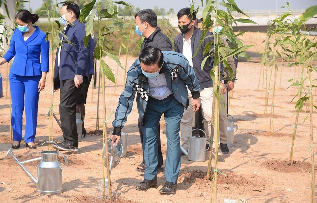 Minister of Natural Resources and Environment Tran Hong Ha attends the ceremony to launch the New Year Tree Planting Festival and respond to the Government's programme to plant one billion trees during 2021-2025. (Photo: VietnamPlus)