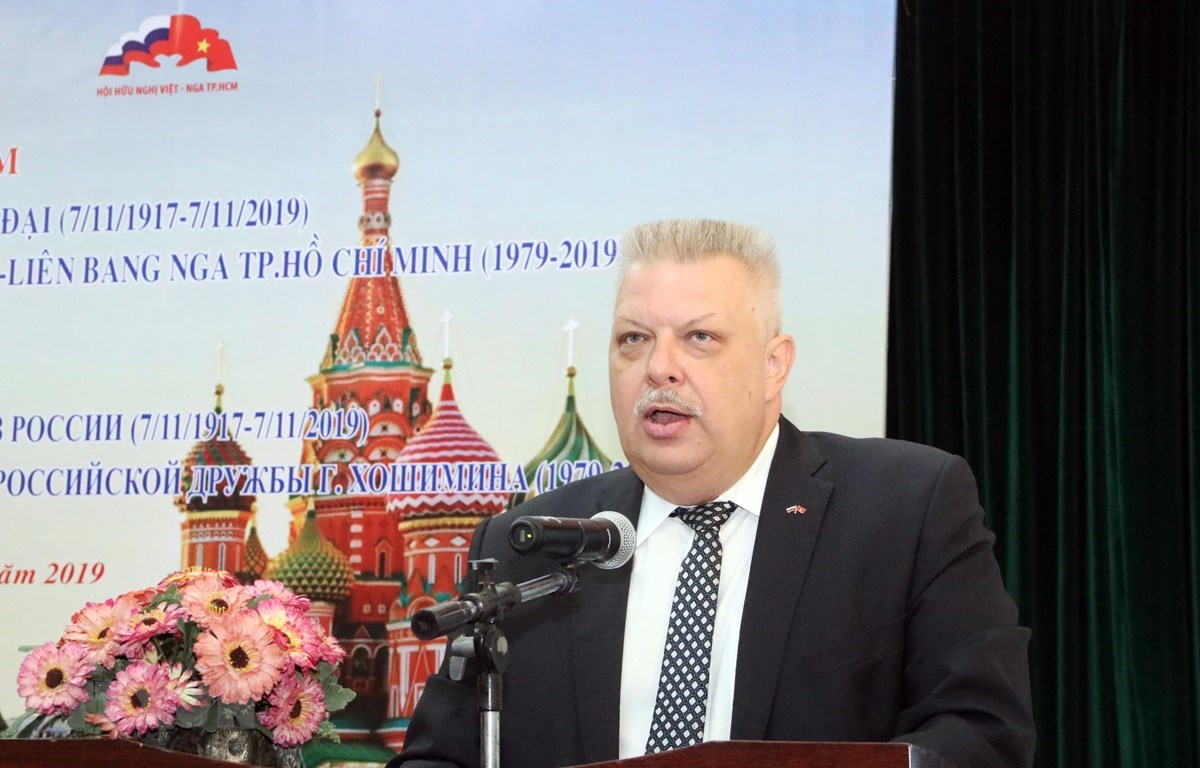 Alexey Vladimirovich Popov, Russian Consul General to HCM City, speaks at the gathering (Photo: VNA)
