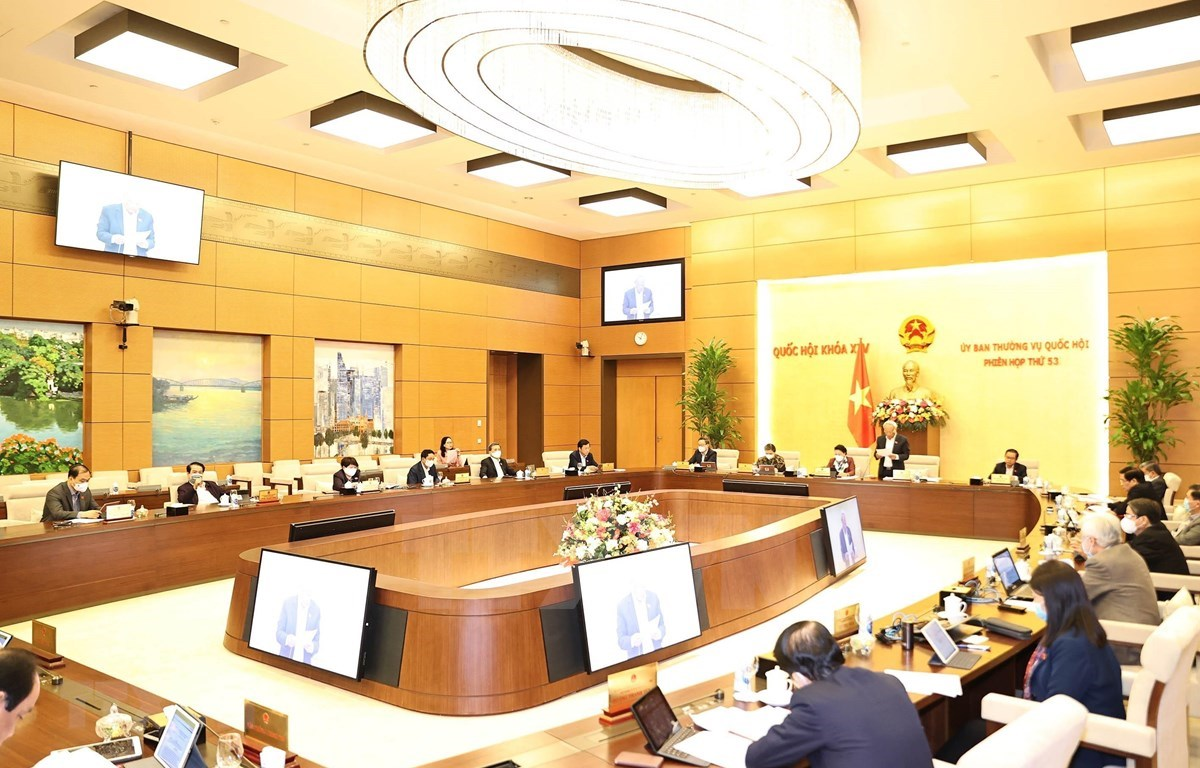 A view of the 53rd session of the NA Standing Committee on February 23. (Photo: VNA)