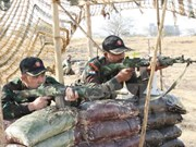 Defence officer observes military exercise in India