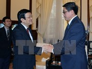 President Sang greets outgoing Singaporean Ambassador