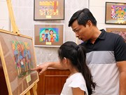 Children's painting exhibition opens on Russian family day