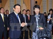 President Sang greets Japanese entrepreneurs