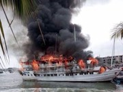 All 37 tourists saved from burning ship on Ha Long Bay