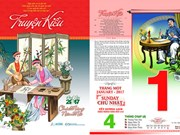 The tale of Kieu printed on calendar