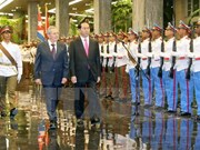 President Tran Dai Quang holds talks with Cuban leaders