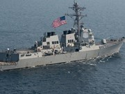 US warship docks in Manila South Harbour