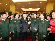 Party leader meets outstanding women in military