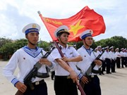 Flag salute ceremony on Truong Sa archipelago