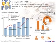 FDI in first 7 months reaches nearly 22 billion USD
