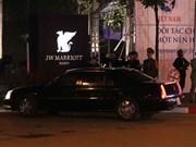 US President Donald Trump arrives at  JW Marriott Hotel