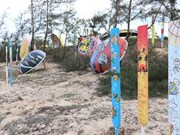 Paintings on coracles beautify fishing village