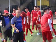 ASIAD 2018: U23 Vietnam team practise before match with Pakistan