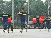 Ninh Binh trains firefighters in fire fighting and prevention