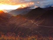 Nice sunset scene over misty mountains