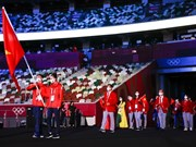 Vietnamese delegation marches at Tokyo Olympics opening ceremony