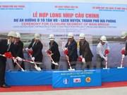 Sections of longest cross-sea bridge in SE Asia joined