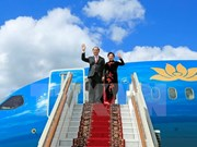 President Tran Dai Quang arrives in Moscow