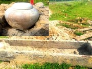 Ancient treetrunk coffin unearthed in Ha Tinh province