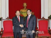 Party official greets Lao Minister of Home Affairs