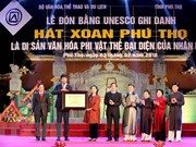 Phu Tho receives UNESCO heritage of humanity certificate for Xoan Singing