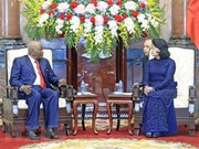 Acting President greets former Mozambican President