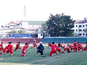 Vietnam's national football team trains for AFF Cup in Laos