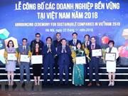 Vietnam announces top 100 sustainable enterprises in 2018