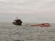 Crew of capsized fishing boat rescued at sea