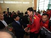 Vietnam's national football team welcomed home