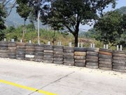 Rubber tyre wall installed along dangerous mountain pass