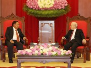 Party, State leader Nguyen Phu Trong welcomes Lao counterpart