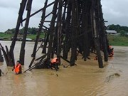 Thailand's longest wooden bridge on brink of collapse due to rains
