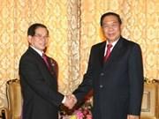 Top leaders of Vietnam, Laos hold talks