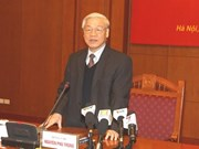 Party leader stresses internal force, confidence