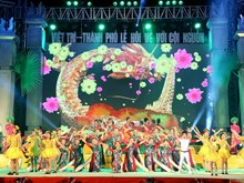 Street folk festival bustle in Viet Tri City