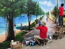 Coastal mural village dazzles visitors