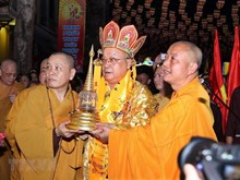 Procession of Buddha's relics on Hanoi street