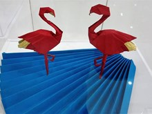 Origami art works on display in Hanoi