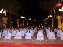 Buddhist ritual prays for peace