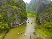 Tam Coc-Bich Dong blanketed with green rice fields