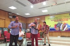 Colombia's Vallenato music band performs in Hanoi