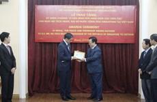 Singaporean Ambassador honoured with friendship insignia