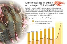 Difficulties ahead for shrimp export target of 3.4 billion USD