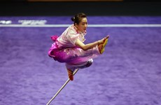 Wushu artist Duong Thuy Vi performs at SEA Games 29