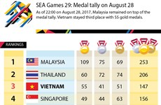 SEA Games 29: Medal tally on August 28